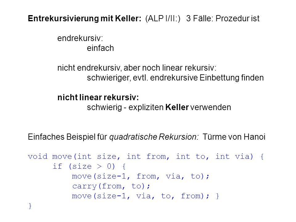 Entrekursivierung mit Keller: (ALP I/II:) 3 Fälle: Prozedur ist