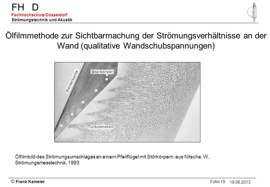 Ölfilmmethode zur Sichtbarmachung der Strömungsverhältnisse an der Wand (qualitative Wandschubspannungen)