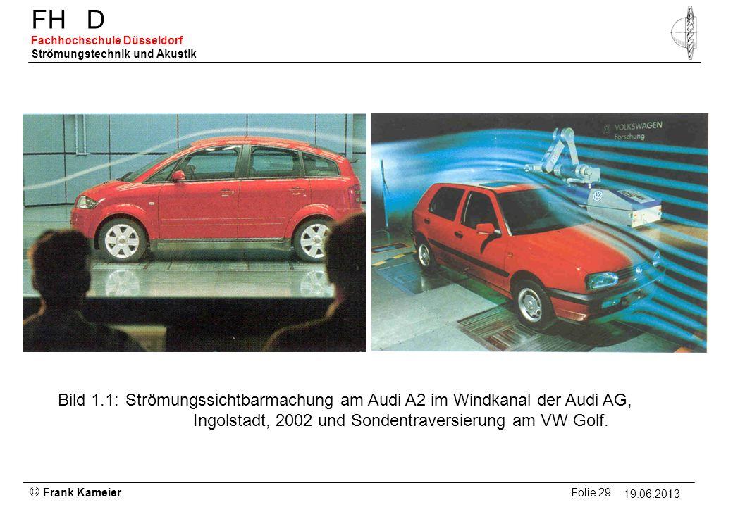 Bild 1.1: Strömungssichtbarmachung am Audi A2 im Windkanal der Audi AG, Ingolstadt, 2002 und Sondentraversierung am VW Golf.