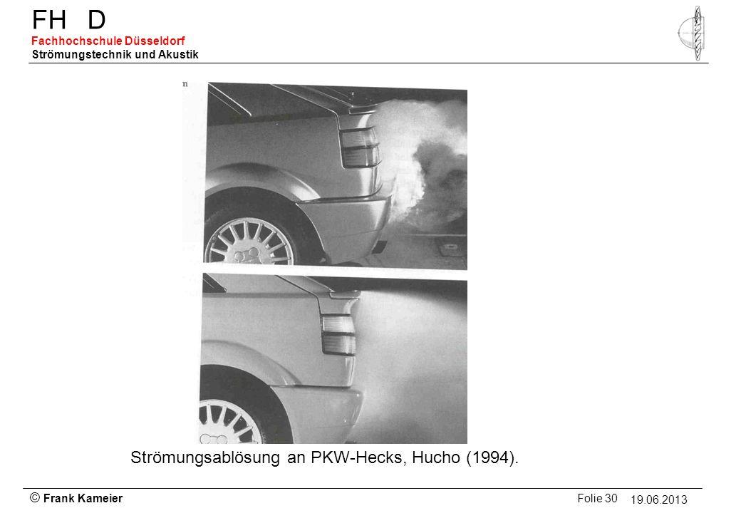 Strömungsablösung an PKW-Hecks, Hucho (1994).