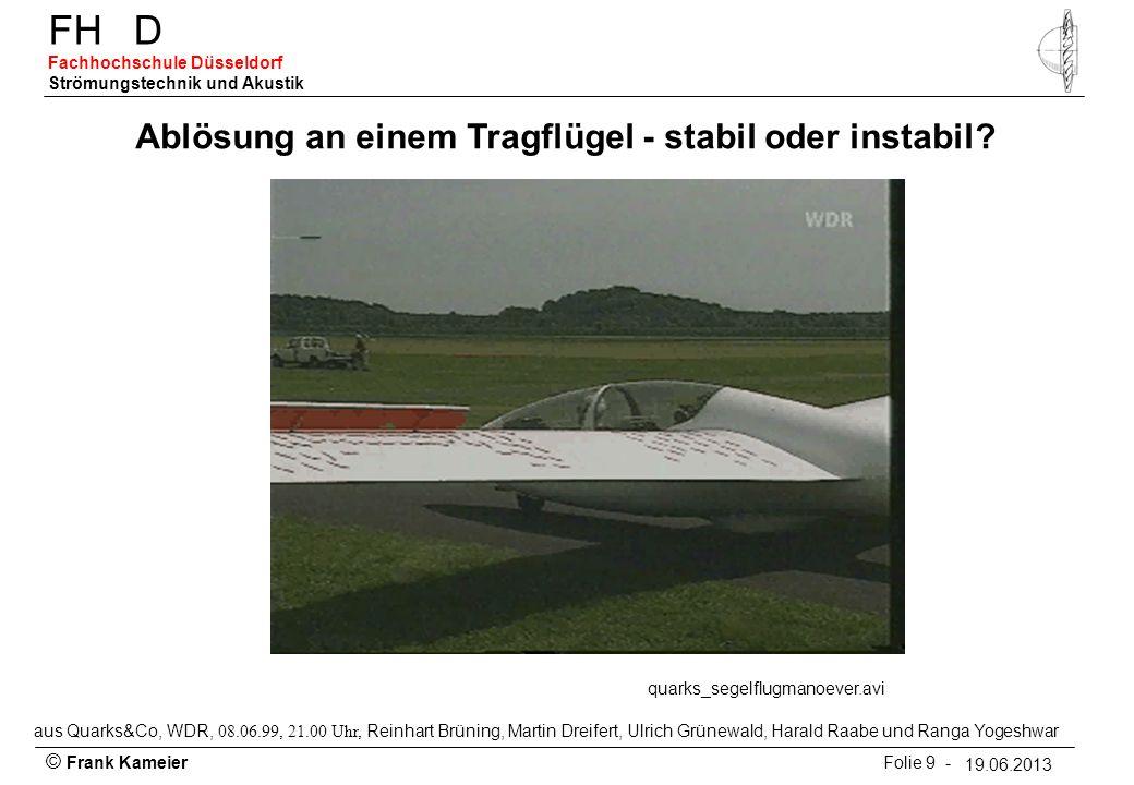 Ablösung an einem Tragflügel - stabil oder instabil
