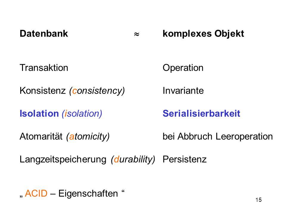 Datenbank  komplexes Objekt