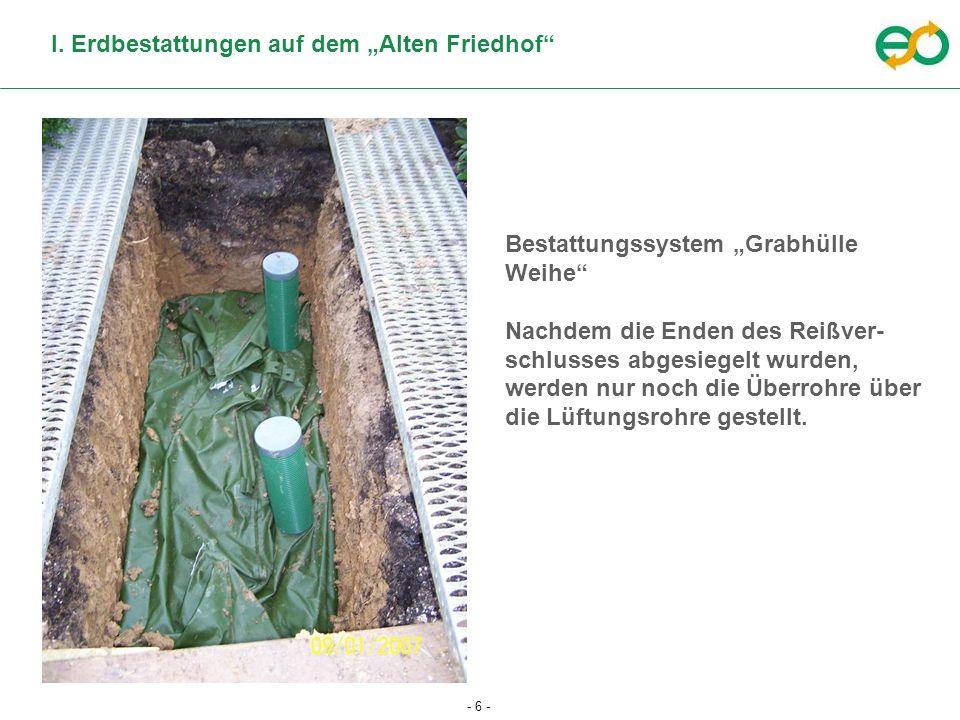 """I. Erdbestattungen auf dem """"Alten Friedhof"""