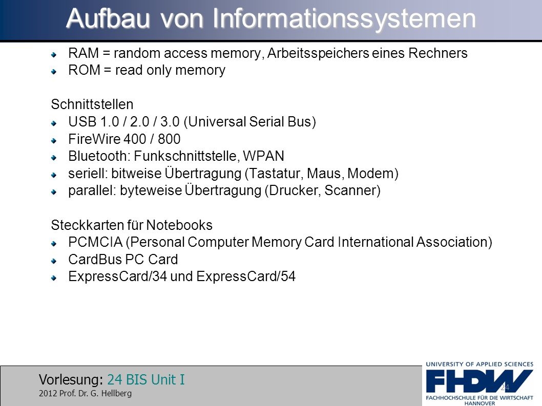 Aufbau von Informationssystemen