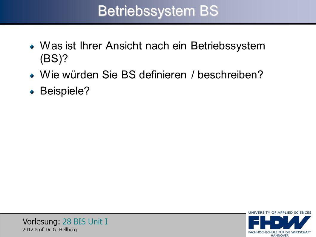Betriebssystem BS Was ist Ihrer Ansicht nach ein Betriebssystem (BS)