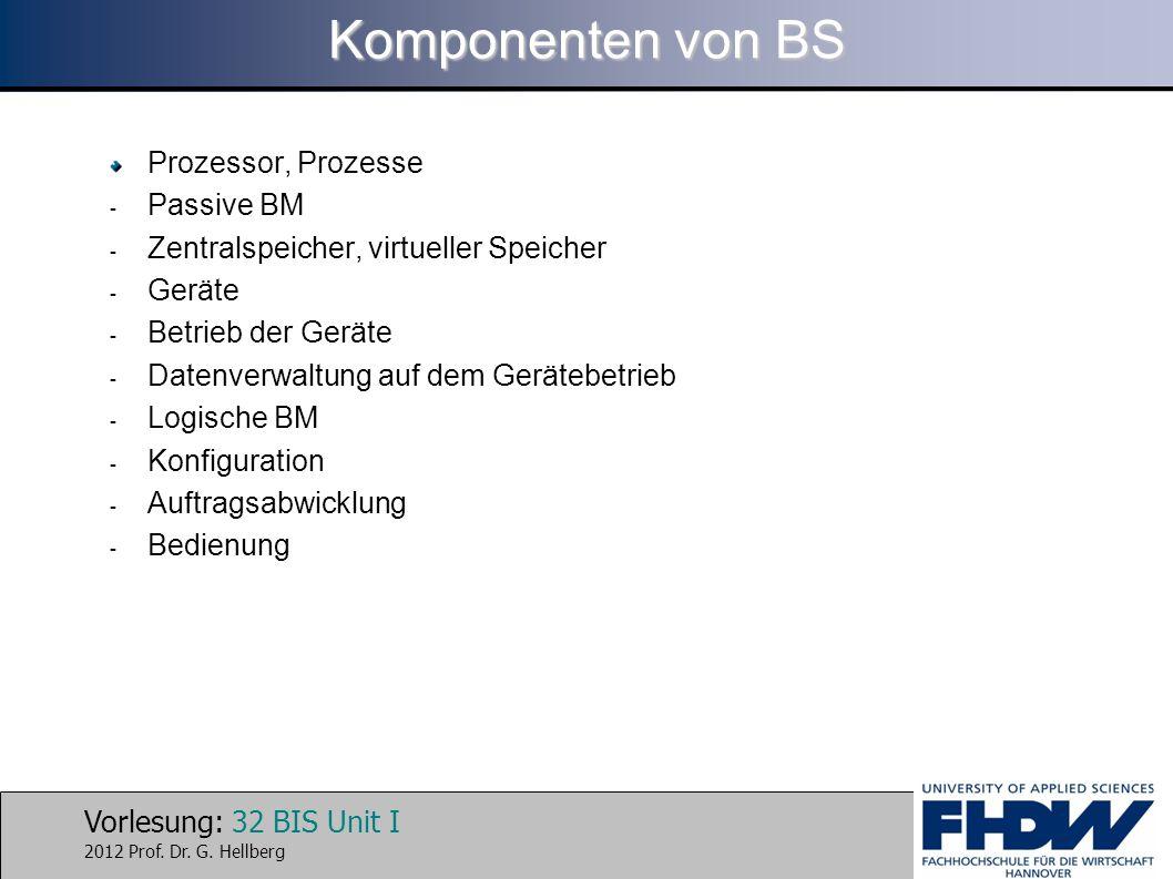 Komponenten von BS Prozessor, Prozesse Passive BM
