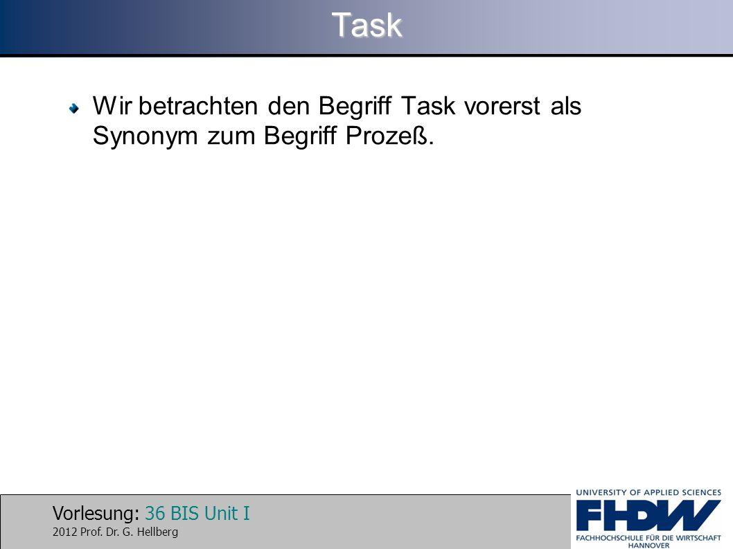 Task Wir betrachten den Begriff Task vorerst als Synonym zum Begriff Prozeß.