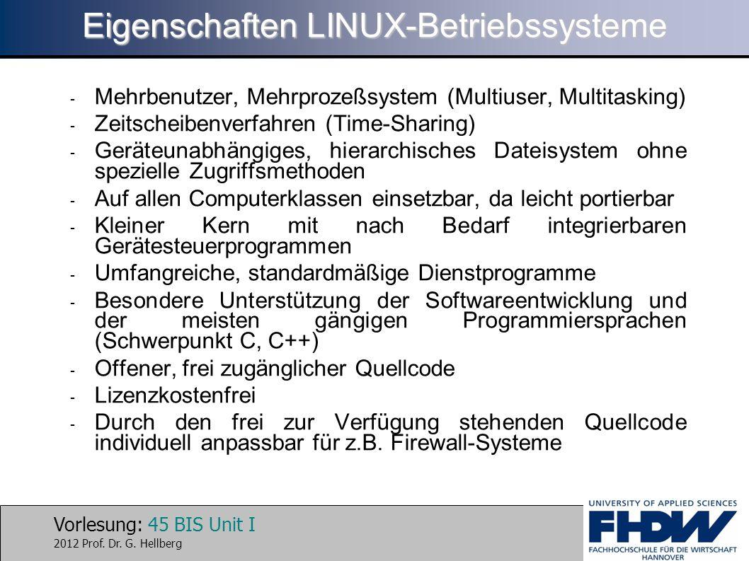 Eigenschaften LINUX-Betriebssysteme