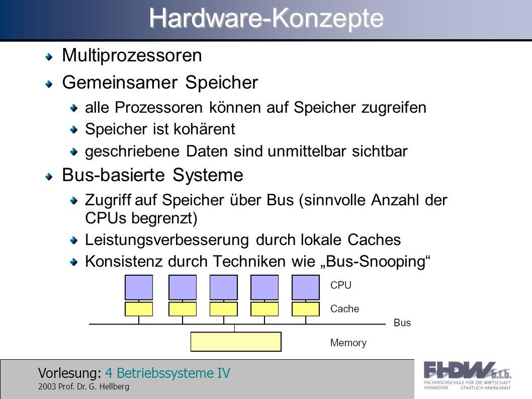 Hardware-Konzepte Multiprozessoren Gemeinsamer Speicher