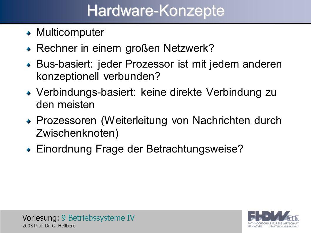 Hardware-Konzepte Multicomputer Rechner in einem großen Netzwerk