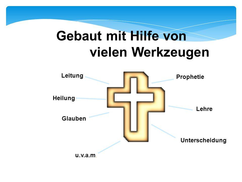 Gebaut mit Hilfe von vielen Werkzeugen Leitung Prophetie Heilung Lehre