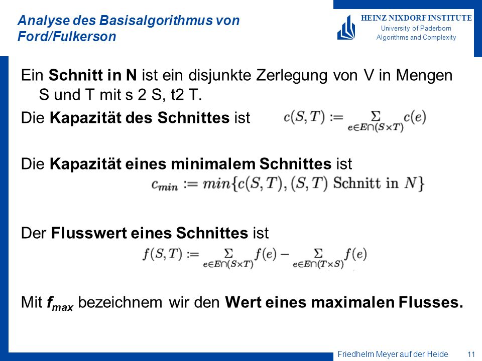 Analyse des Basisalgorithmus von Ford/Fulkerson
