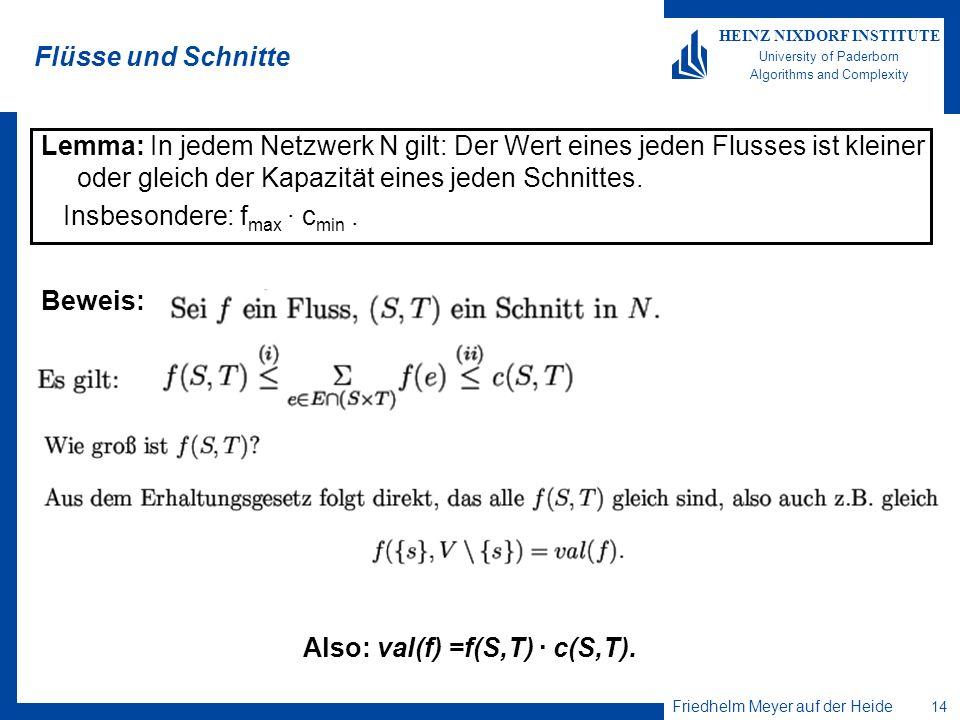 Flüsse und Schnitte Lemma: In jedem Netzwerk N gilt: Der Wert eines jeden Flusses ist kleiner oder gleich der Kapazität eines jeden Schnittes.