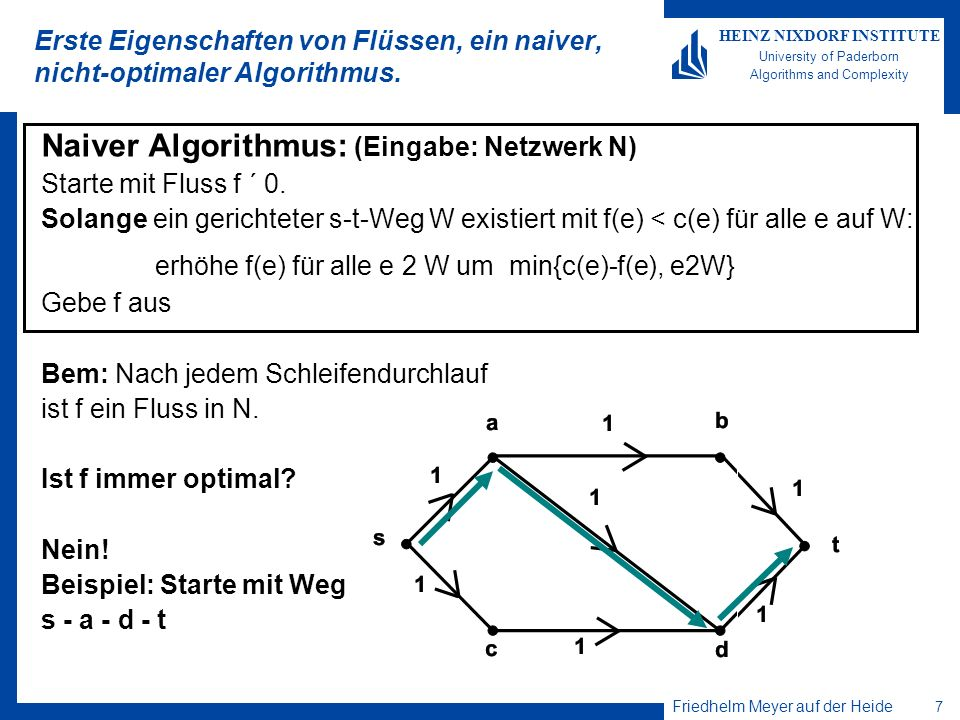 erhöhe f(e) für alle e 2 W um min{c(e)-f(e), e2W}