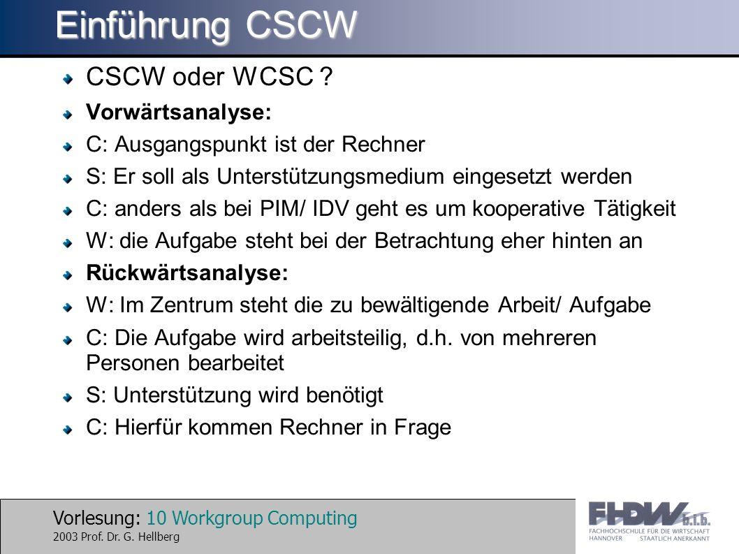 Einführung CSCW CSCW oder WCSC Vorwärtsanalyse:
