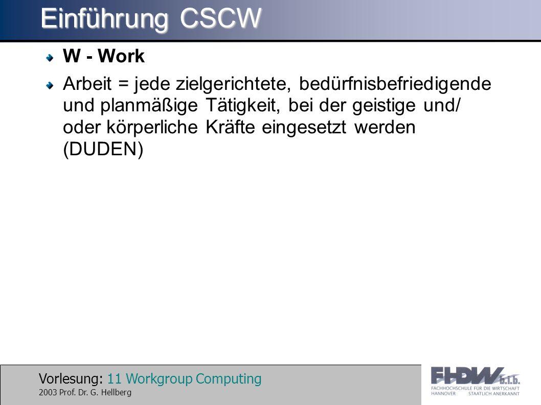 Einführung CSCW W - Work