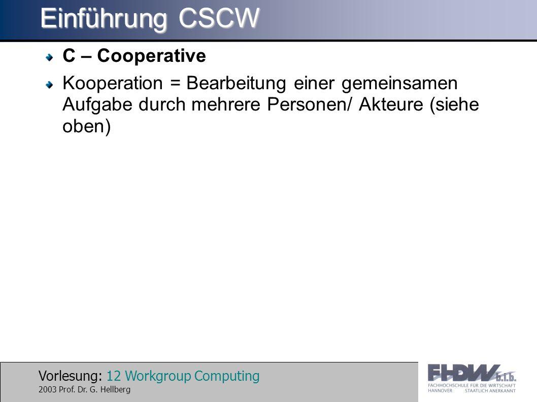 Einführung CSCW C – Cooperative