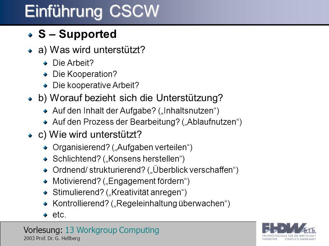Einführung CSCW S – Supported a) Was wird unterstützt