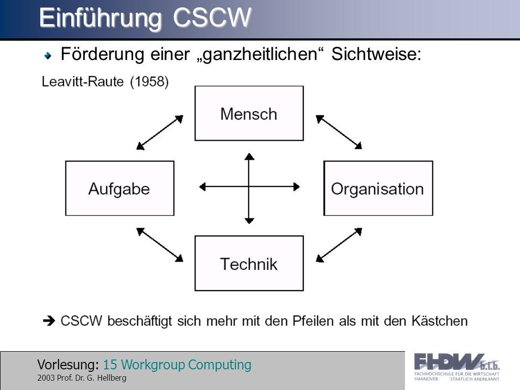 """Einführung CSCW Förderung einer """"ganzheitlichen Sichtweise:"""