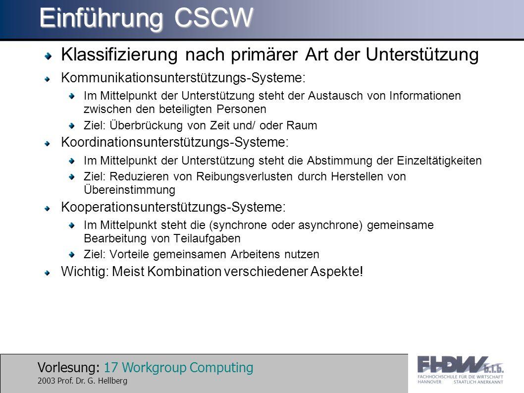 Einführung CSCW Klassifizierung nach primärer Art der Unterstützung