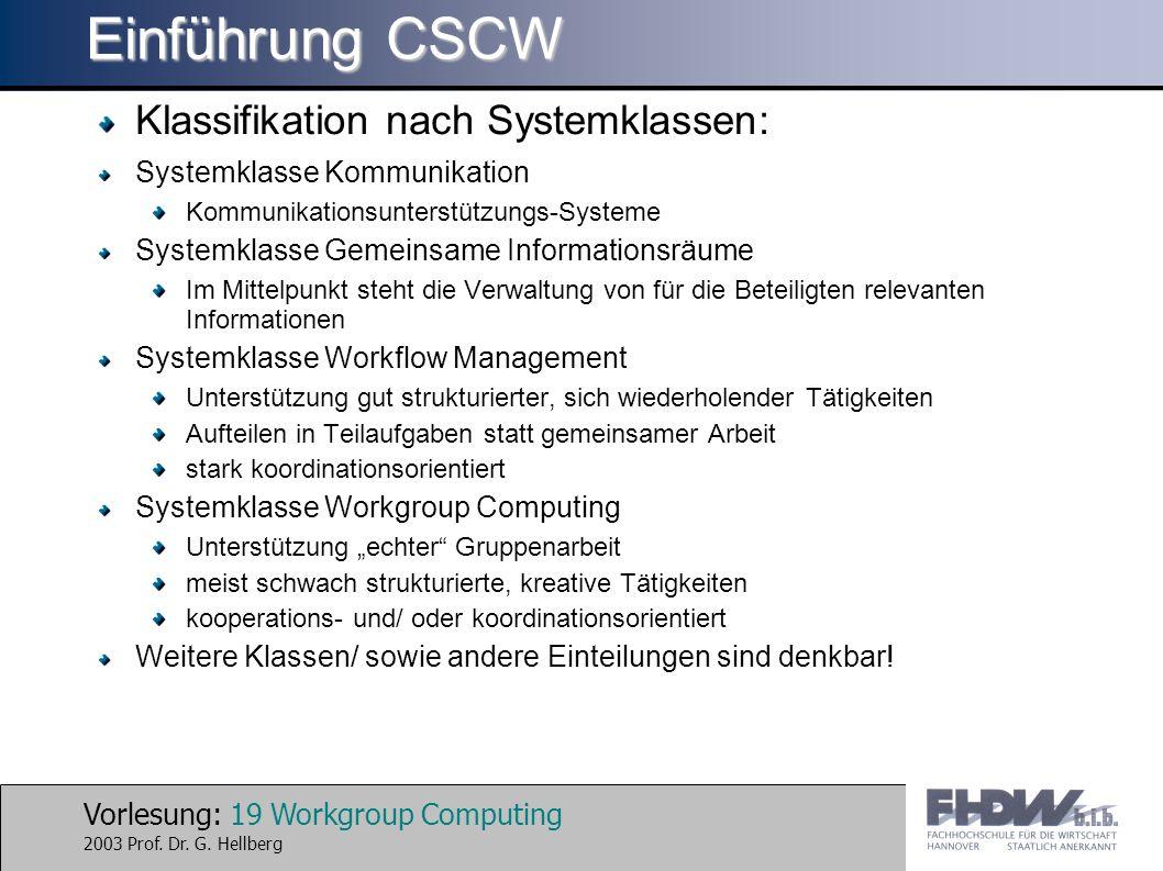 Einführung CSCW Klassifikation nach Systemklassen: