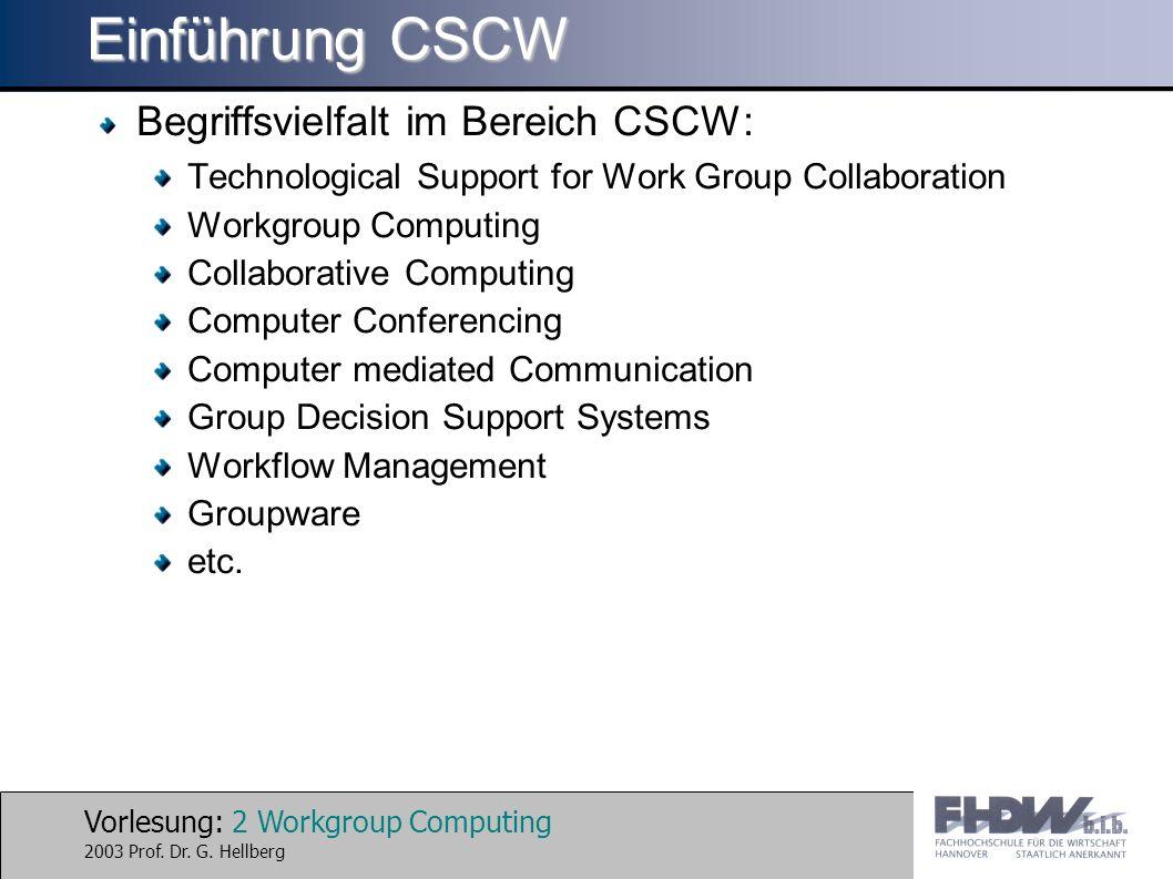 Einführung CSCW Begriffsvielfalt im Bereich CSCW: