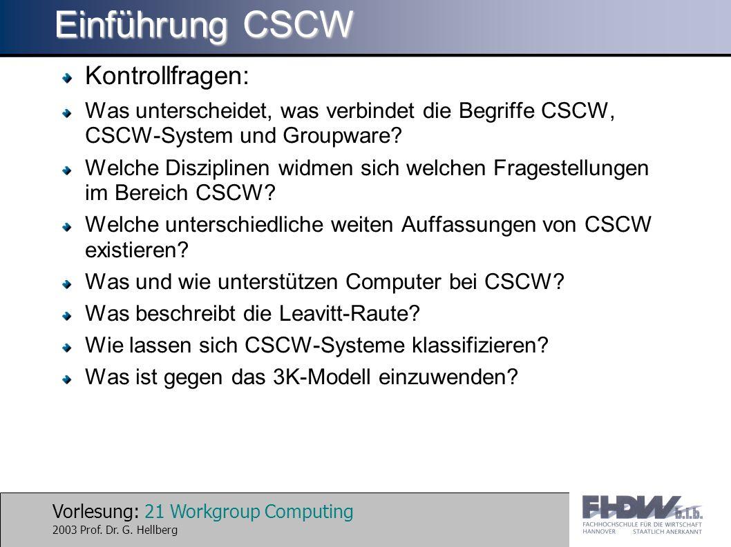 Einführung CSCW Kontrollfragen: