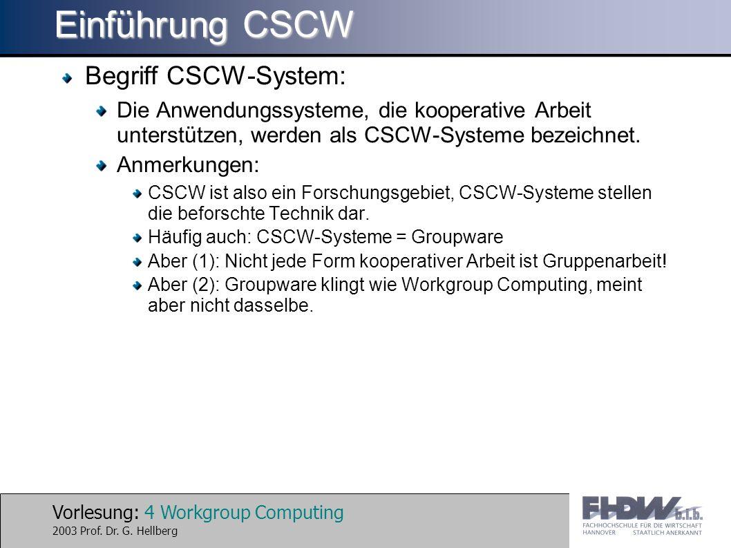 Einführung CSCW Begriff CSCW-System:
