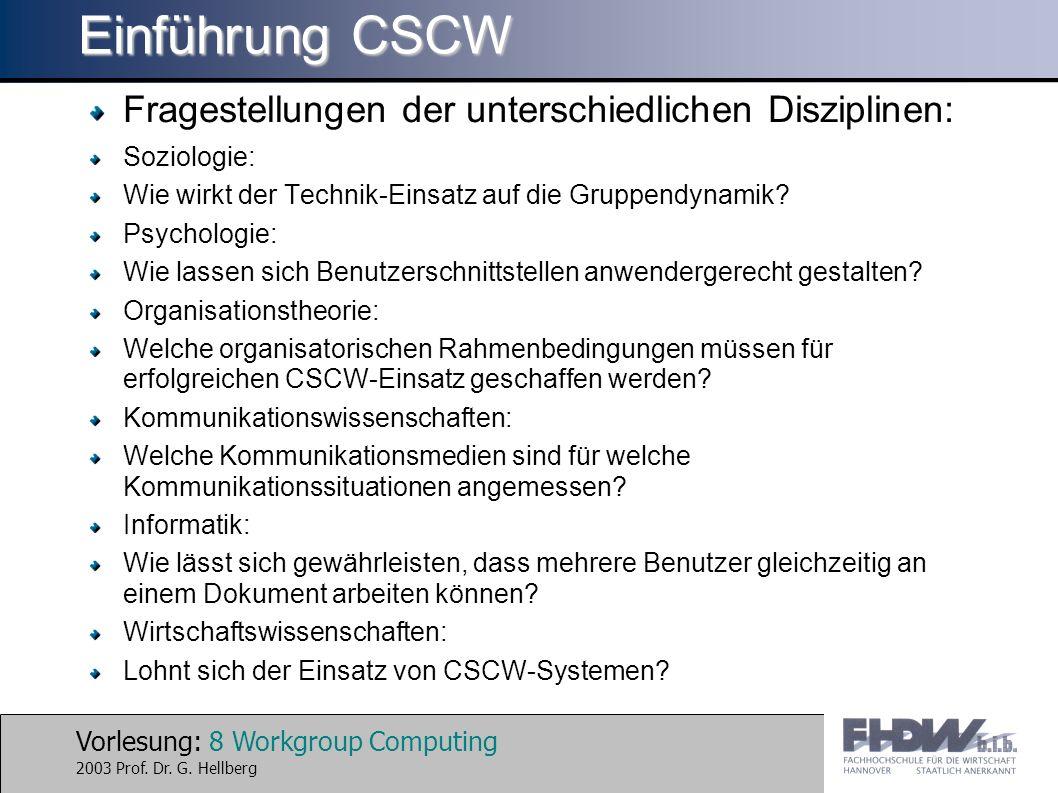 Einführung CSCW Fragestellungen der unterschiedlichen Disziplinen:
