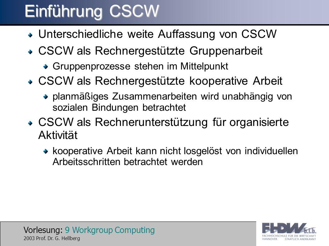 Einführung CSCW Unterschiedliche weite Auffassung von CSCW