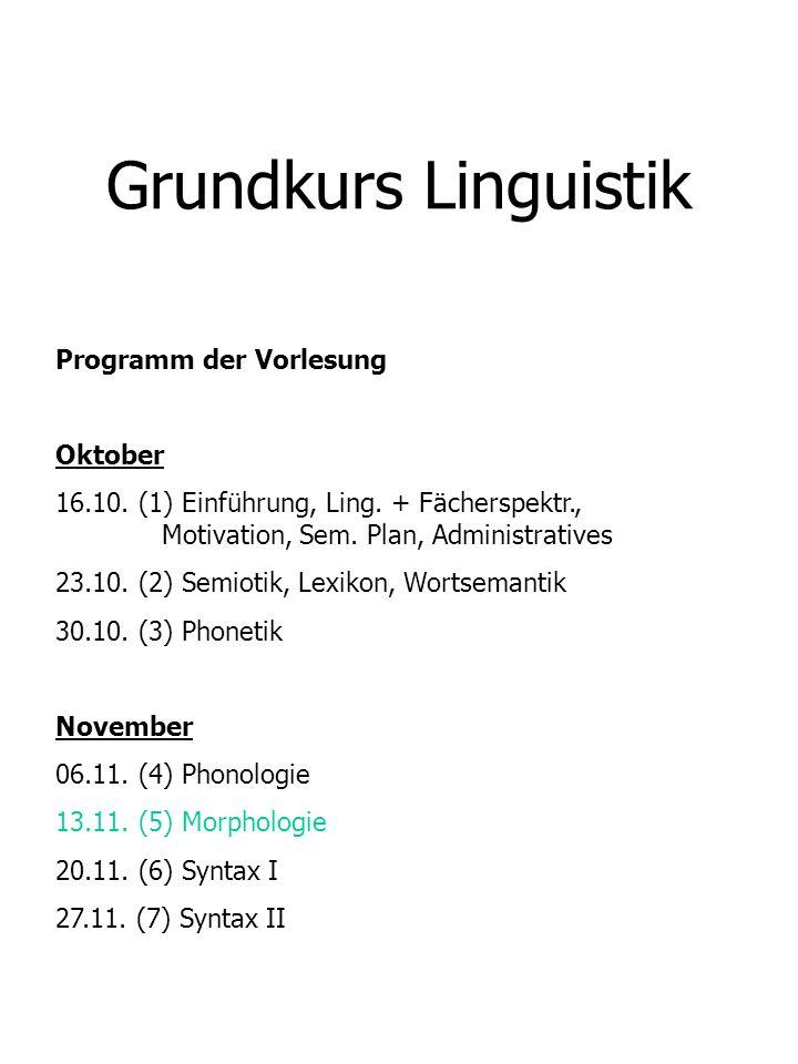 Grundkurs Linguistik Programm der Vorlesung Oktober