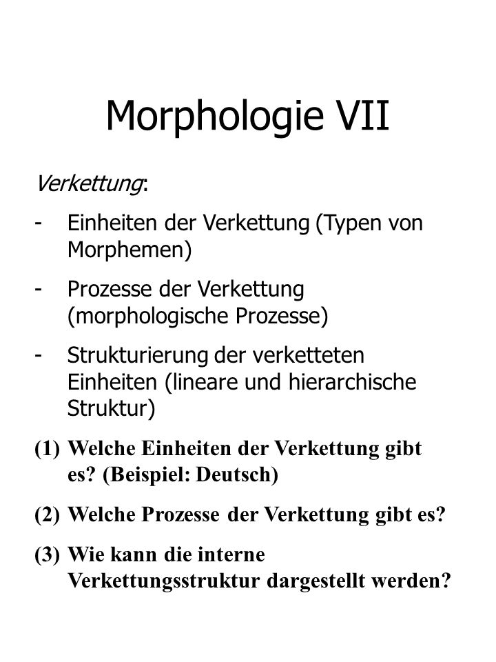 Morphologie VII Verkettung: