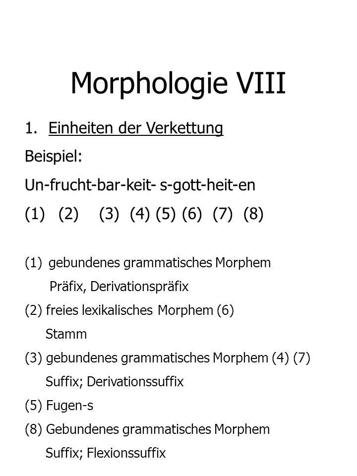 Morphologie VIII Einheiten der Verkettung Beispiel:
