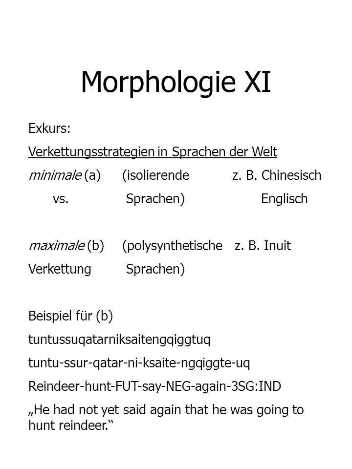 Morphologie XI Exkurs: Verkettungsstrategien in Sprachen der Welt