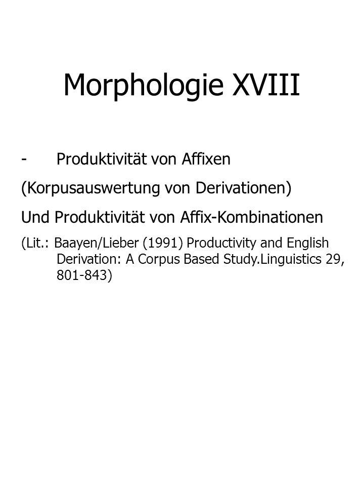 Morphologie XVIII Produktivität von Affixen