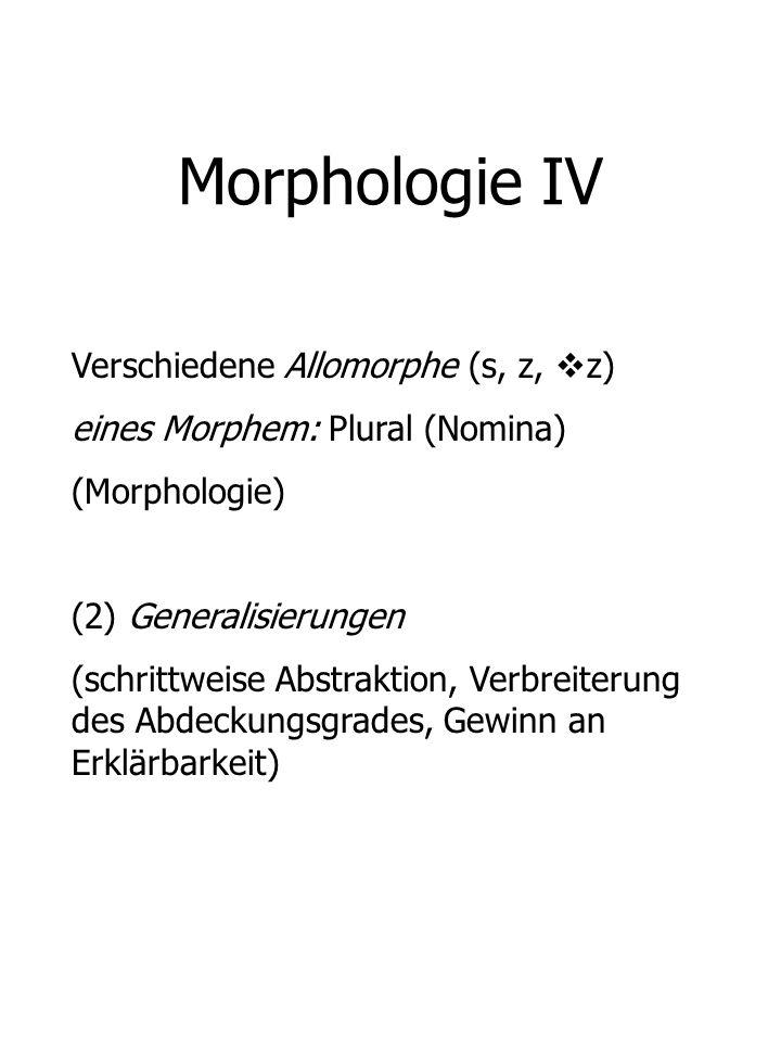 Morphologie IV Verschiedene Allomorphe (s, z, z)