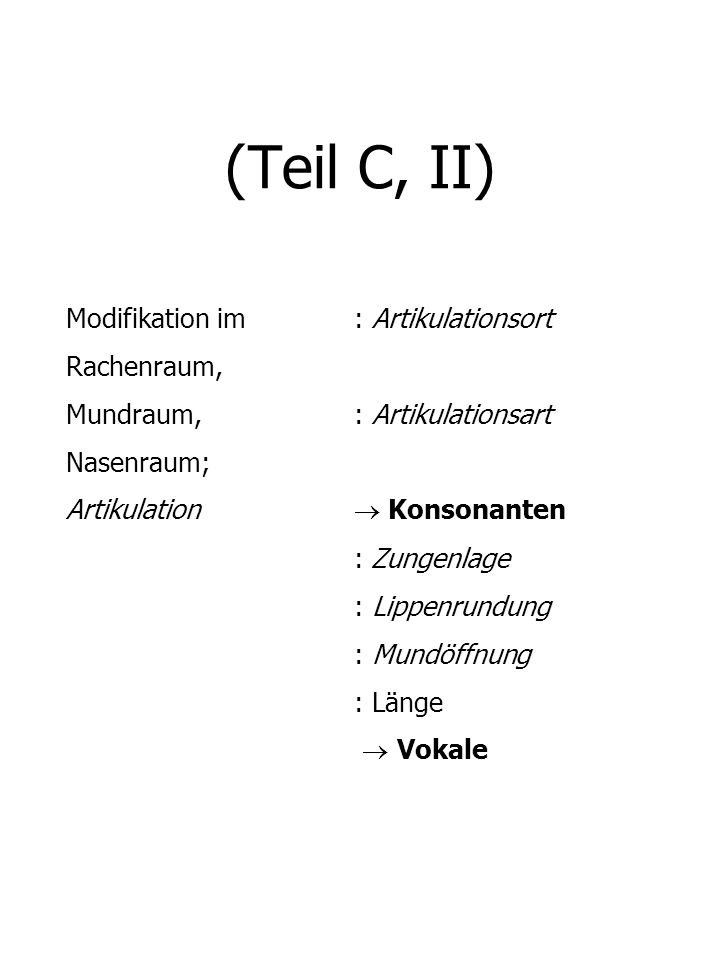 (Teil C, II) Modifikation im : Artikulationsort Rachenraum,