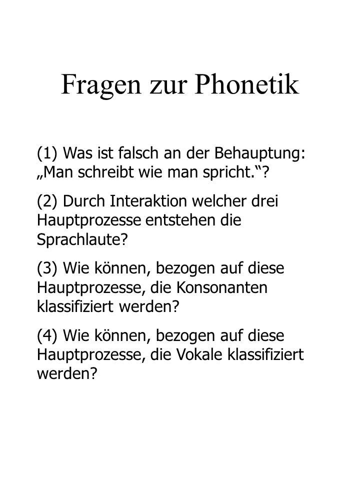 """Fragen zur Phonetik (1) Was ist falsch an der Behauptung: """"Man schreibt wie man spricht."""