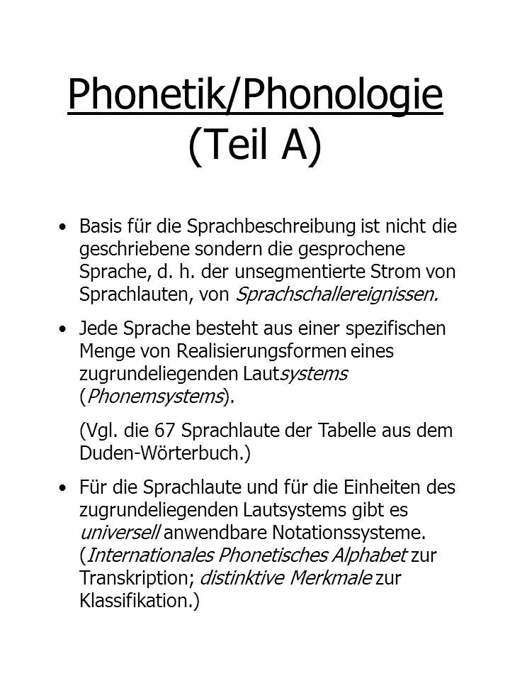 Phonetik/Phonologie (Teil A)