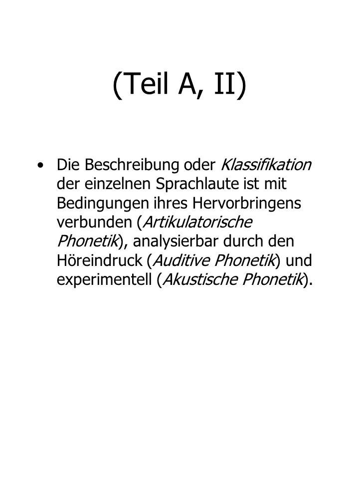 (Teil A, II)