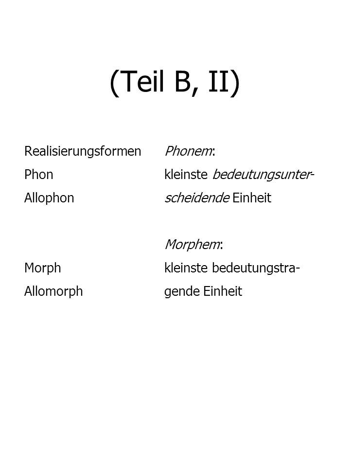 (Teil B, II) Realisierungsformen Phonem: