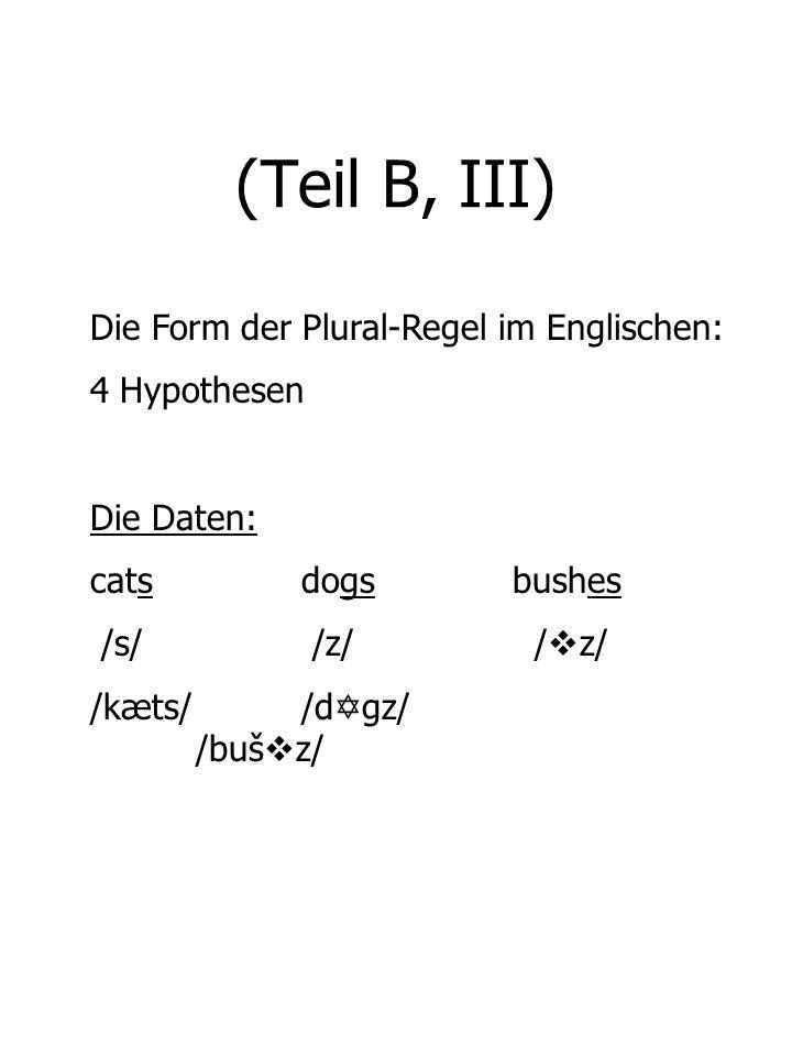 (Teil B, III) Die Form der Plural-Regel im Englischen: 4 Hypothesen