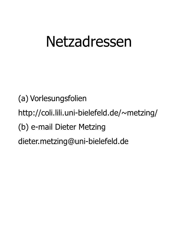 Netzadressen Vorlesungsfolien