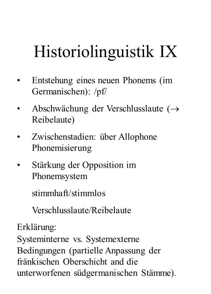 Historiolinguistik IX