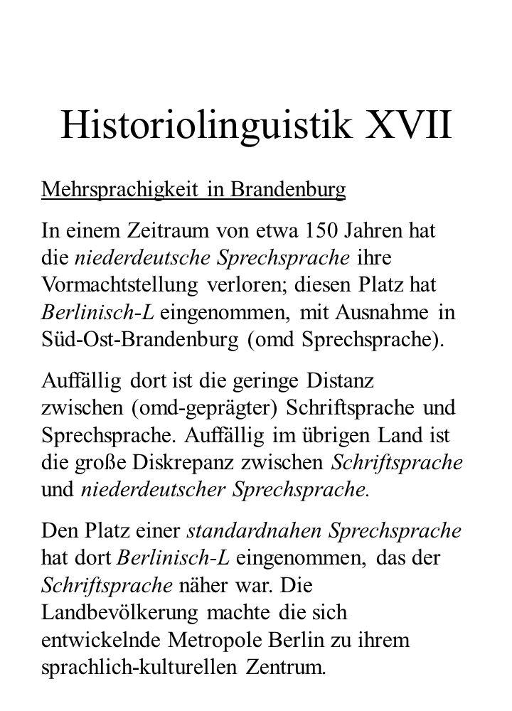 Historiolinguistik XVII