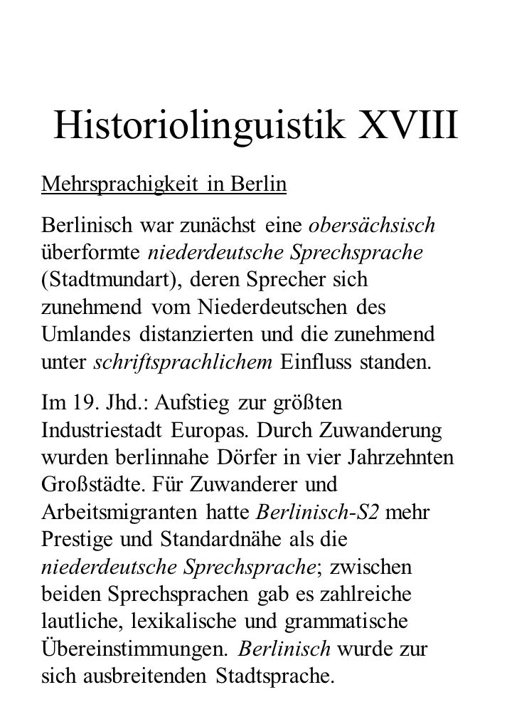 Historiolinguistik XVIII