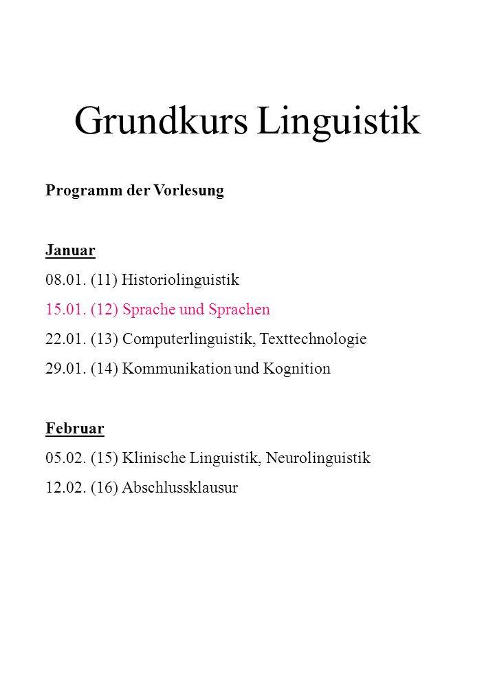 Grundkurs Linguistik Programm der Vorlesung Januar