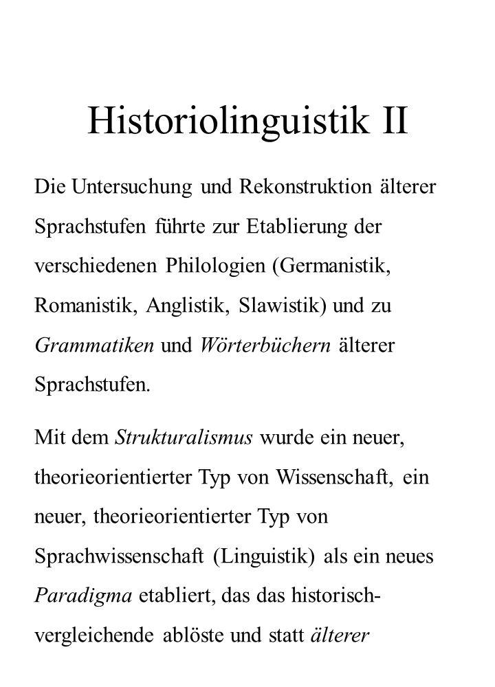 Historiolinguistik II