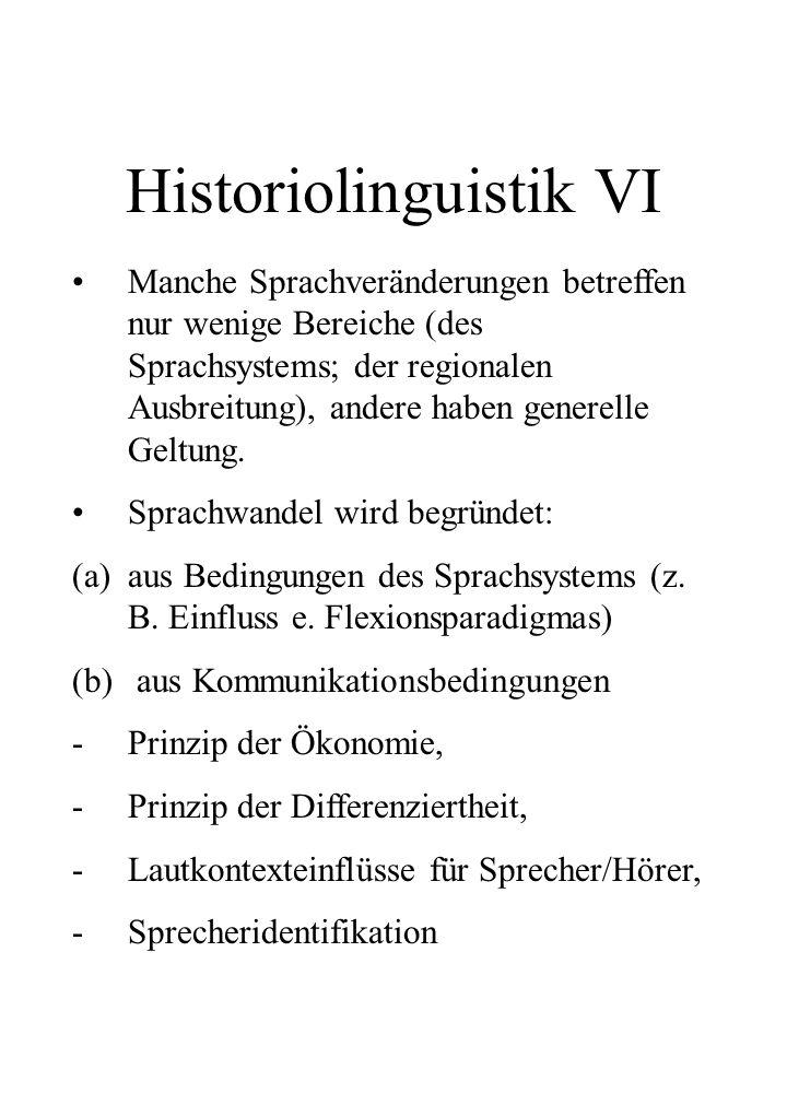 Historiolinguistik VI
