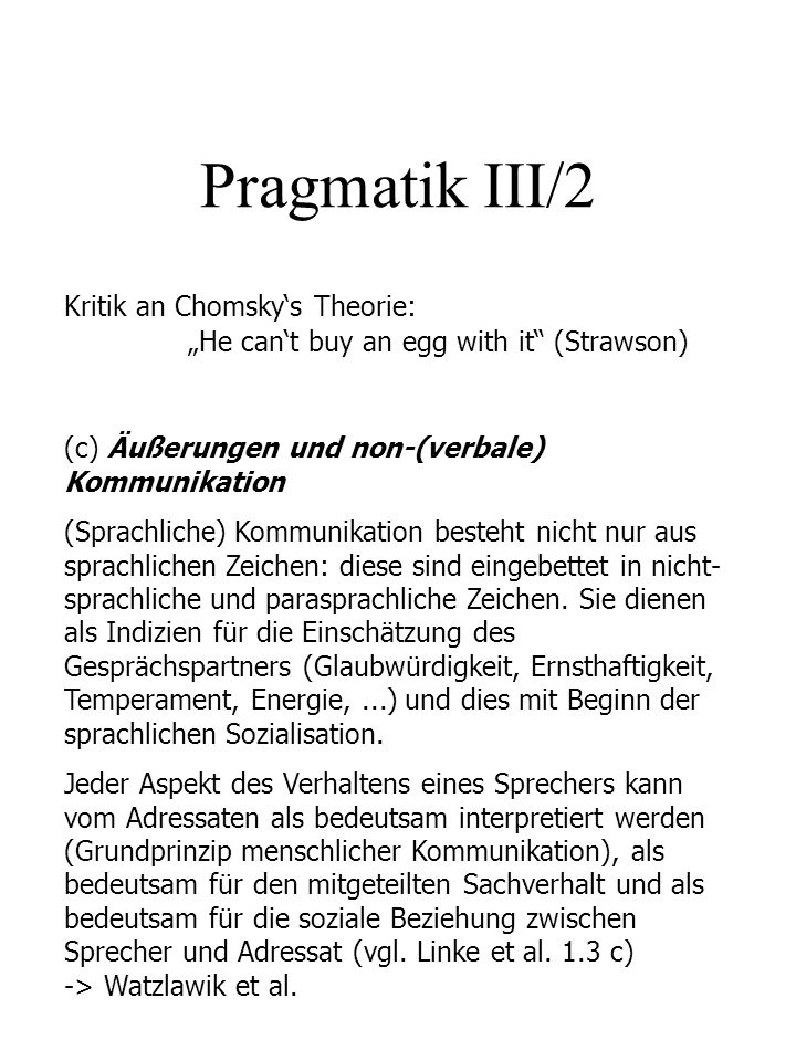 Pragmatik III/2 Kritik an Chomsky's Theorie: